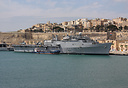 INS Jalashwa (formerly the USS Trenton) in Malta after having evacuate...