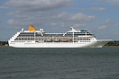 Adonia departing Southampton on her maiden voyage from the port, havin...