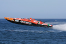 Supersport class boat no. 06 Jolly Drive takes to the air during the U...