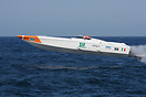 Supersport class boat no. 38 SIF takes to the air during the UIM Ocean...
