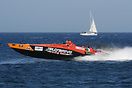 Supersport class boat no. 06 Jolly Drive spurting exhaust during the U...