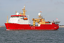 HMS Protector outbound from Portsmouth