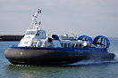 Island Express type AP1-88 Hovercraft departs from Southsea for Ryde.