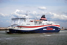 Norman Spirit departs from Calais for Dover. LD lines and DFDS operate...