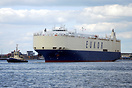 The car carrier Asian Vision arrives at Southampton from Zeebrugge.