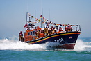 Eastbourne's Mersey Class lifeboat RNLI The Royal Thames at sea waitin...
