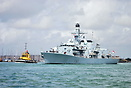 The Frigate HMS St Albans leaves Portsmouth on a family day around the...