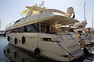 Conam wide body 75 motor yacht 'Tristan' at Cannes. With 1 master bedr...