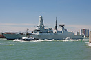 The first of class Type 45 Destroyer, HMS Daring (D32), seen leaving P...