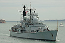 HMS Gloucester (D96), is seen approaching Portsmouth Harbour on the 11...