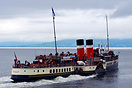 The PS Waverley leaving Largs for Rothesay, about to sail into the rai...