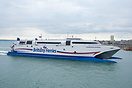 Brittany Ferries Catamaran, Normandie Express, arriving at Portsmouth ...
