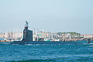 The nuclear powered attack submarine, USS Virginia (SSN774), seen depa...