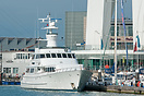 The motor yacht, Lady Sandals, moored at Gunwharf Quays, next to the S...