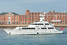 The Feadship motor yacht, Lady Sandals, seen departing Portsmouth on t...