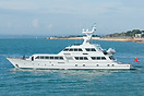 The elegant motor yacht, Lady Sandals, seen departing Portsmouth on th...