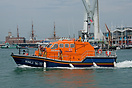 Having just landed a casualty, the Bembridge Lifeboat, RNLB Alfred Alb...