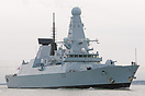 HMS Daring (D32), approaching Portsmouth Harbour on the 1st February 2...
