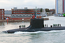The nuclear powered attack submarine, USS Missouri (SSN780), departing...