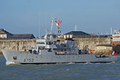French Navy Training Vessel, FS Guepard (A752), departing Portsmouth o...