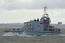 The P2000 Archer Class Patrol Vessel, HMS Smiter (P272), outbound from...