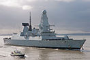 Type 45 Destroyer, HMS Daring (D32), returning to Portsmouth on the 28...