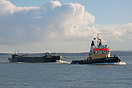 Tug Handfast approaching Portsmouth on the 23rd March 2014, with the b...