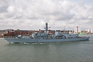 HMS Kent (F78), departing Portsmouth on the 24th March 2014.