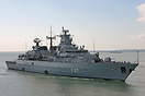 The Brandenburg Class Frigate, FGS Bayern (F217), arriving at Portsmou...