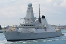 HMS Duncan (D37) returns to sea on the 2nd May 2014, having received a...