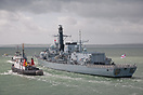 HMS St Albans (F83), departs Portsmouth on the 9th May 2014, for a per...