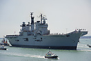 HMS Illustrious (R06), returns to Portsmouth flying a paying off penna...