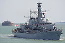 HMS Lancaster (F229), seen in the Solent and approaching Portsmouth Ha...