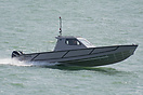 A QinetiQ operated Autonomous Surface Vehicle, capable of speeds up to...