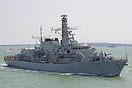 HMS Lancaster (F229), approaching Portsmouth Harbour after a Families ...