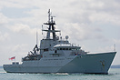 The River Class OPV, HMS Mersey (P283), approaching Portsmouth Harbour...