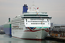 Aurora wearing the new corporate P&O livery at 38/39 berth at Sout...